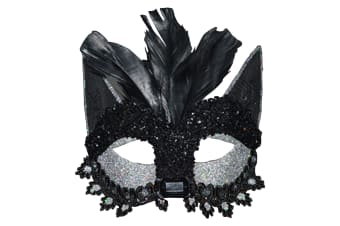 Scream Machine Cat Masquerade Halloween Mask (Black) (One Size)