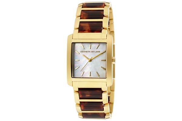 KJ LANE Women's White MOP Dial Gold Tone IP Stainless Steel and Tortoise Resin (KJLANE-1608)