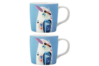 2PK Maxwell & Williams 375ml Pete Cromer Porcelain Kookaburra Mug Cup Coffee Tea