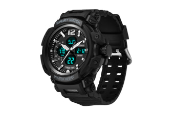 Men'S Sports Watch Multifunctional Waterproof Electronic Watch Black