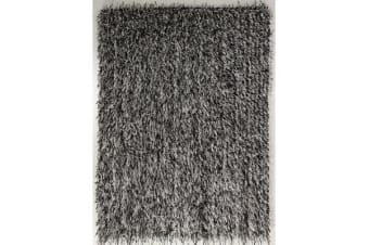 Metallic Noodle Shag Rug Black Off White 320x230cm