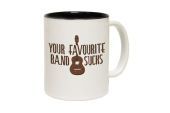 123T Funny Mugs - Your Favourite Band Sucks - Black Coffee Cup