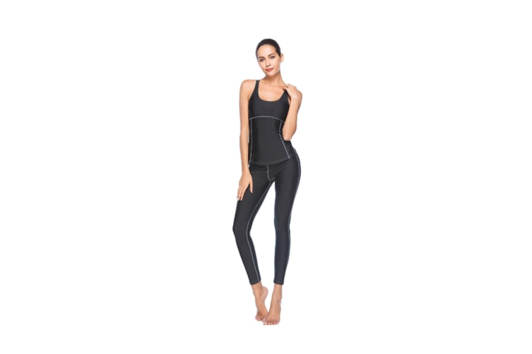Women'S Tight-Fitting Nine-Sleeve Sports And Leisure Yoga Set Black M