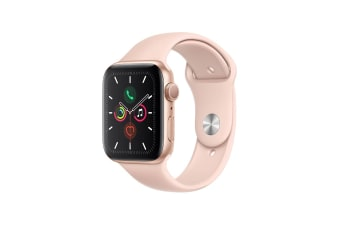 Apple Watch Series 5 (Gold Aluminum, 44mm, Pink Sand Sport Band, Cellular)