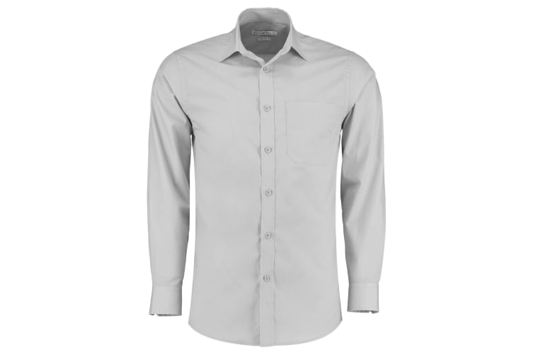 Kustom Kit Mens Long Sleeve Poplin Shirt (Light Grey) (22)