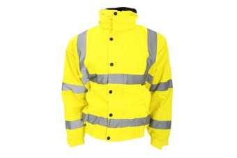 Warrior Memphis High Visibility Bomber Jacket / Safety Wear / Workwear (Fluorescent Yellow)