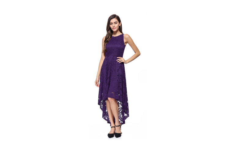 Women'S Dress Sexy Lace Evening Dress Long Tuxedo Big Swing Skirt - Purple Purple L