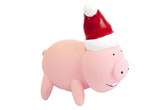 PetBrands Latex Christmas Oinking Pig Toy For Dogs (Pink/Red/White)