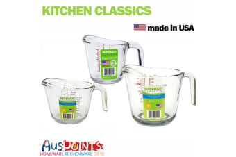 New Kitchen Classics Set of 3 Glass Measure Jug Bakeware Measuring Tool