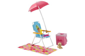 Barbie Furniture and Accessories Playset - Beach Picnic with Puppy