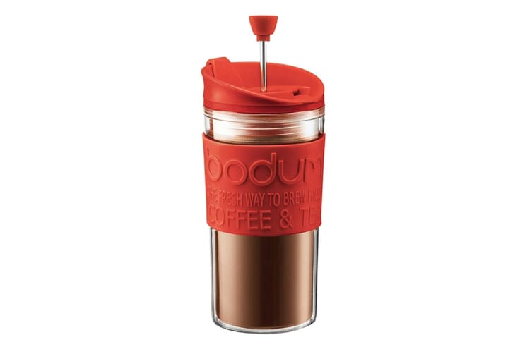 Bodum Travel Press Set Coffee Maker with Extra Lid - Red, 0.35L, 12 oz (k11102-294)