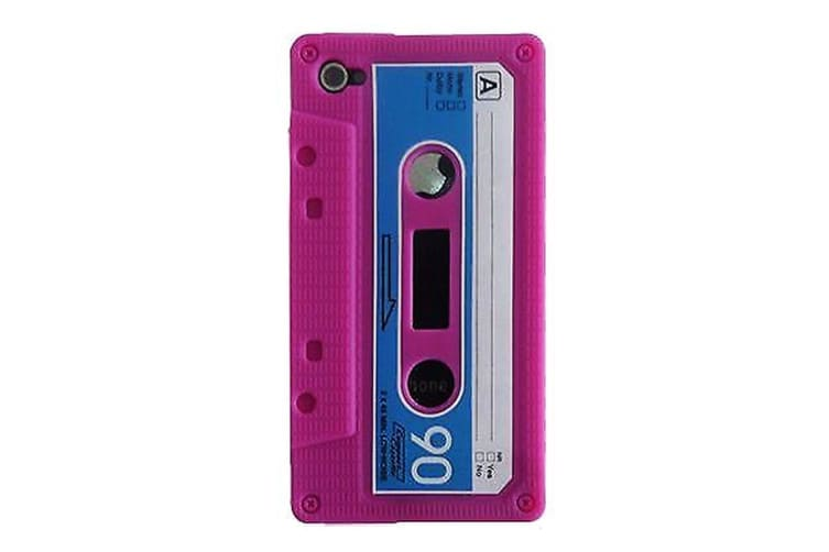 For iPhone 4/4S Case Retro Cassette Tape Pattern Durable Shielding Cover Pink