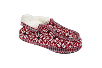 Slumberzzz Womens/Ladies Knitted Moccasin Slippers (Red/White) (3-4 UK | 36-37 EU)