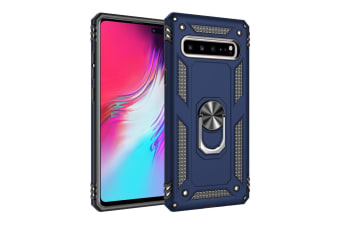 For Samsung Galaxy S10 5G Case Armour Shockproof Cover 360 Rotation Holder  Blue