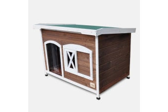 XXL Flat Roof Wooden Dog House Kennel