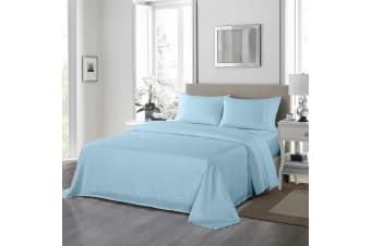Royal Comfort 1200 Thread Count Sheet Set 4 Piece Ultra Soft Satin Weave Finish - Double - Sky Blue