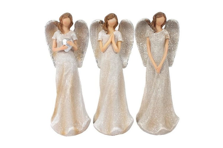 Something Different Trio of Small Glitter Angels Ornament (White) (One Size)
