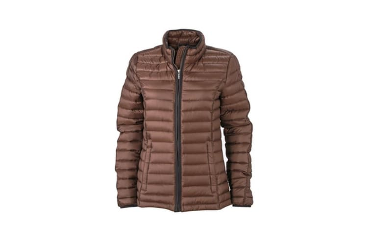 James and Nicholson Womens/Ladies Contrast Quilted Down Jacket (Coffee/Black) (M)