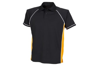 Finden & Hales Kids Unisex Piped Performance Sports Polo Shirt (Black/ Amber/ White) (13-14)