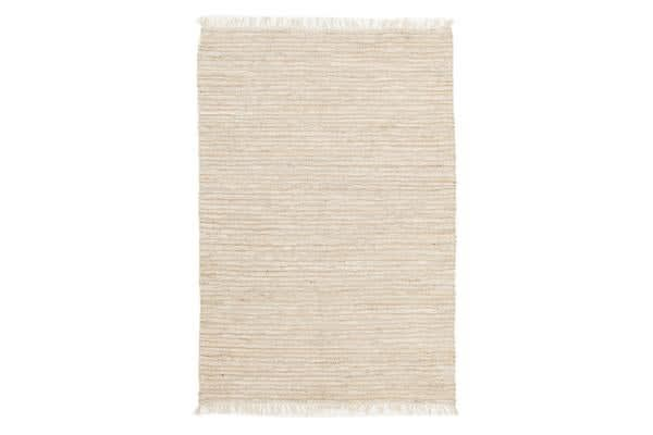 Bondi Leather and Jute Rug White 220x150cm