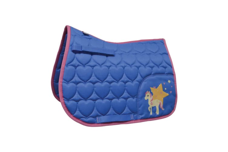 Little Rider Childrens/Kids Star in Show Saddle Pad (Regatta Blue/Cameo Pink) (Pony/Cob)
