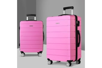 2PC PP Luggage Sets Suitcases TSA Travel Lightweight Hard Case Pink