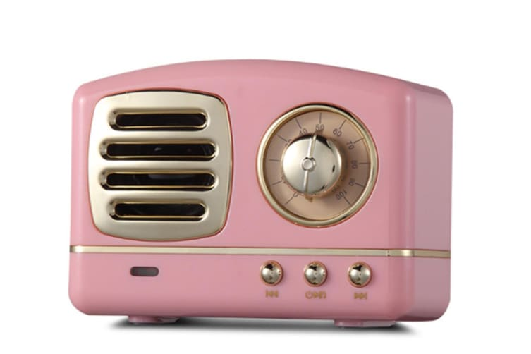 Select Mall Creative Retro Bluetooth Audio Mini Portable High Quality with FM Bluetooth Small Speaker-Pink