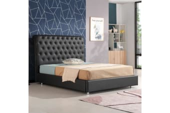 Empire Chesterfield Leatherette Bed Black