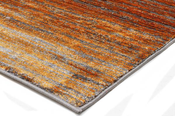 Pandora Contemporary Stripe Rug Rust Grey 290x200cm