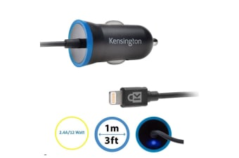 Kensington 2.4A Car Charger Lightning Cable MFI for Apple/iPhone SE 5 6 6S 7 8 X