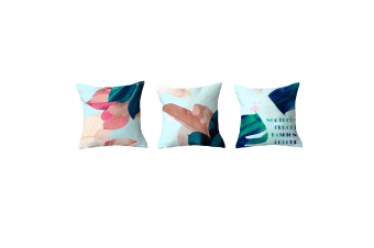 3Pcs Plant Printing Decorative Upholstery Cushion Cover Cozy Throw Pillow Cases Blue 3Pcs