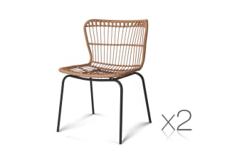 Set of 2 Rattan Curved Back Dining Chairs (Natural)
