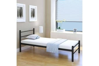 vidaXL Bed Frame Black Metal King Single Size