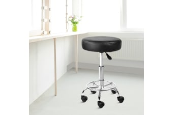 Artiss ROUND Salon Stool Black PU Swivel Barber Hair Dress Chair Hydraulic Lift