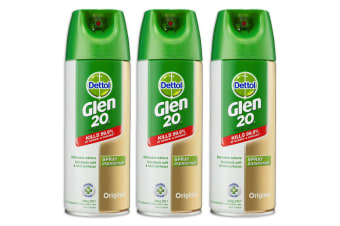 3PK Dettol Glen 20 Disinfectant Spray 300g Kills 99.9% of Virus/Germs Original