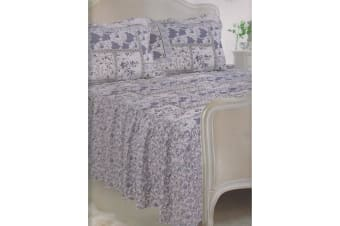 E Of W Nevada Diamond Quilted Floral Bedspread With Pillowshams Bedding Set (Nevada)