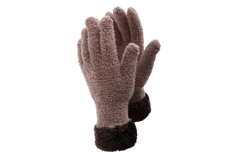 FLOSO Ladies/Womens Fluffy Extra Soft Winter Gloves With Patterned Cuff (Latte/Brown) (One Size)