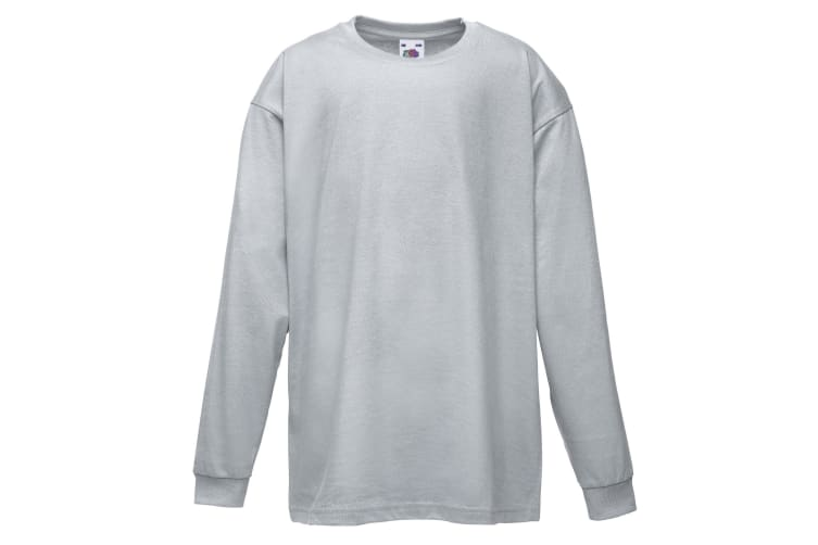 Fruit Of The Loom Childrens/Kids Long Sleeve T-Shirt (Pack of 2) (Heather Grey) (12-13)