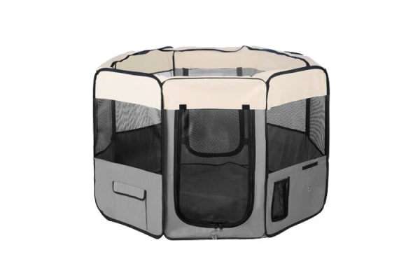 Pet Dog Puppy Cat Exercise Playpen Crate Cage Tent (Grey)