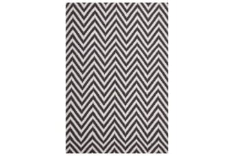 Modern Flatweave Chevron Design Chocolate Rug