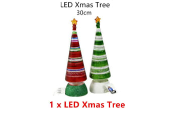 1 x Red LED Christmas Tree 30cm Xmas Party Table Decor Glitter Light Battery Home Night