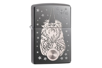 Zippo Wizard Fantasy Genuine Black Ice Chrome Finish Pocket Lighter Windproof