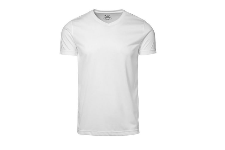 ID Mens Yes Functional Active Short Sleeve Fitted V-Neck T-shirt (White) (3XL)