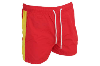 Brave Soul Mens Swimming Shorts With Side Stripe And Drawcord (Red/Yellow)