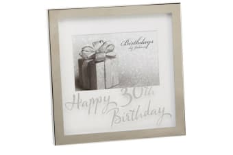 Widdop Birthdays By Juliana Mirror Happy 30th Birthday Print Box Photo Frame (Silver) (6 x 4 inch)