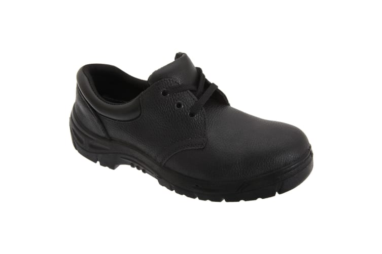 Grafters Mens 3 Eye Grain Leather Safety Toe Cap Shoes (Black) (47 EUR)