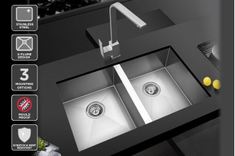 Kromo Vironia 350C Double Bowl Kitchen Sink (Drop-in/Flush/Undermount)