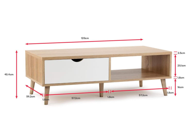 Shangri-La Coffee Table with Storage - Nyhavn Collection (White & Oak)
