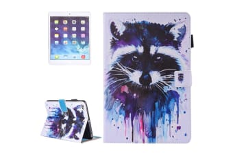 For iPad 2018 2017 9.7in Wallet Case Watercolorful Racoon Leather Cover