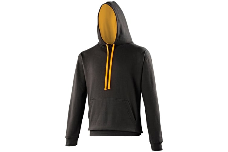Awdis Varsity Hooded Sweatshirt / Hoodie (Jet Black/Orange Crush) (XL)